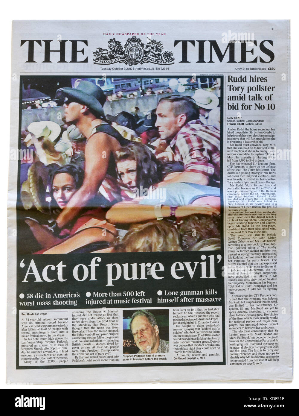 The Times newspaper headline after the Las Vegas mass shooting on 1st October 2017 - Stock Image