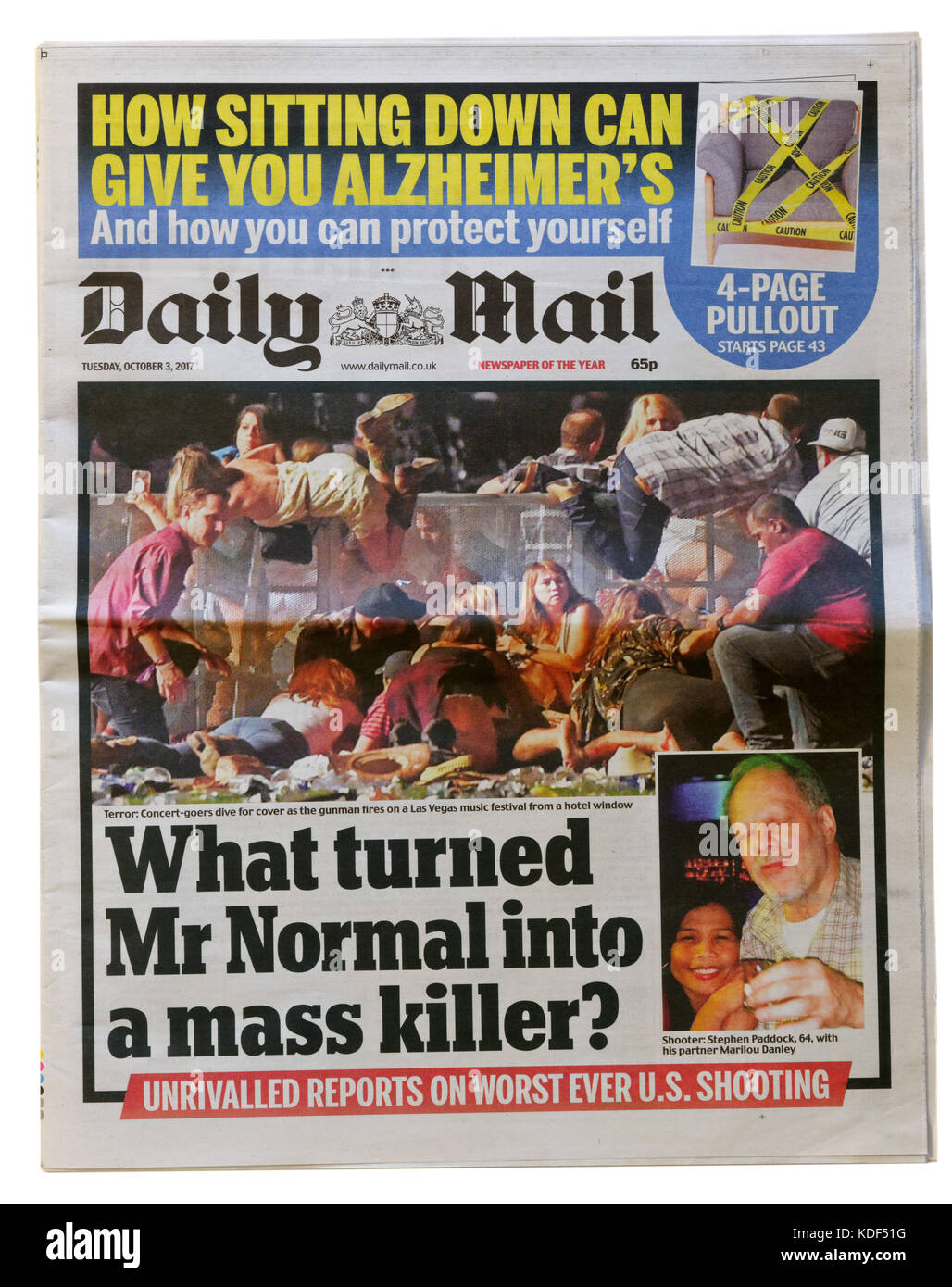 Daily Mail newspaper headline after the Las Vegas mass shooting on 1st October 2017 - Stock Image