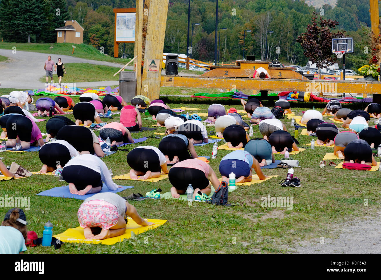 An outdoors yoga class at Mont Sainte Anne in Quebec Canada - Stock Image