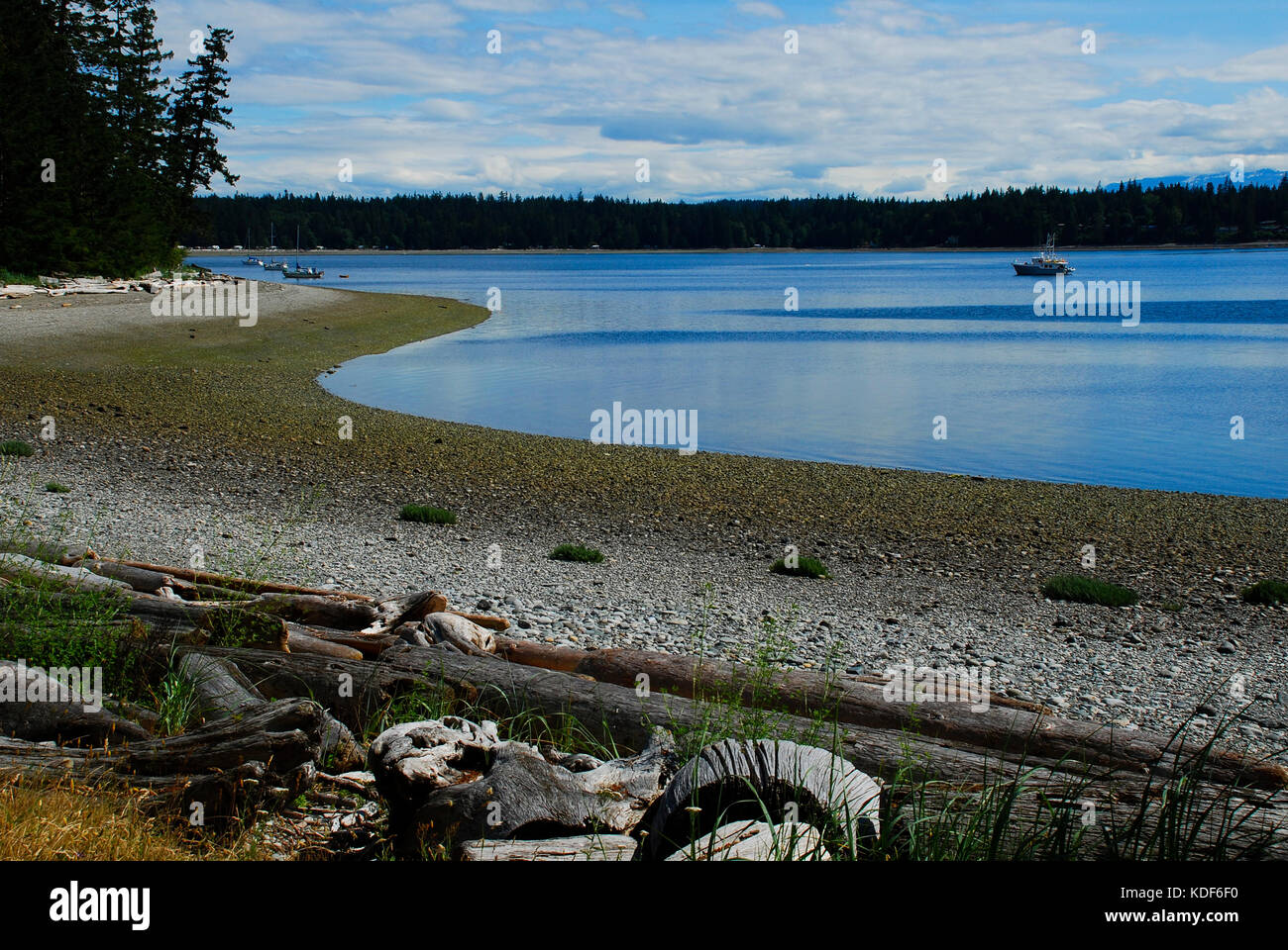 Quadra Island is one of the Discovery Islands, located between Vancouver Island and mainland British Columbia, Canada - Stock Image