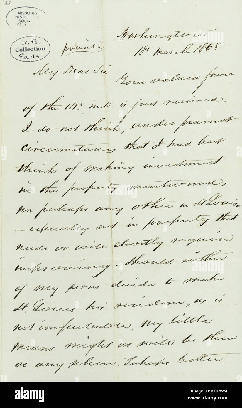 Letter signed Gideon Welles, Washington, (to James B. Eads), March 18, 1868 - Stock Image