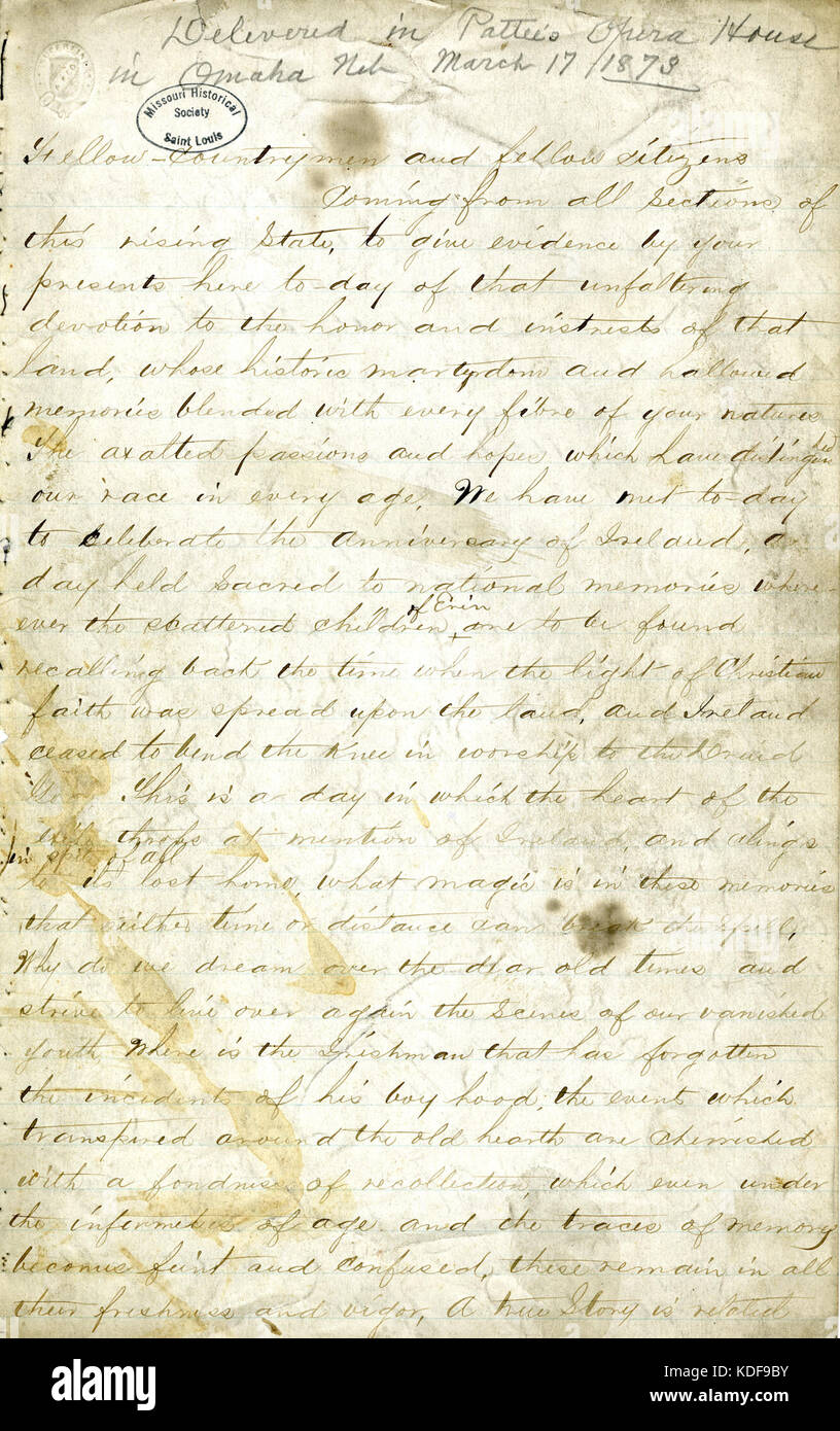Manuscript speech of John O'Keefe on the history of Ireland's struggle with England, March 17, 1873 - Stock Image