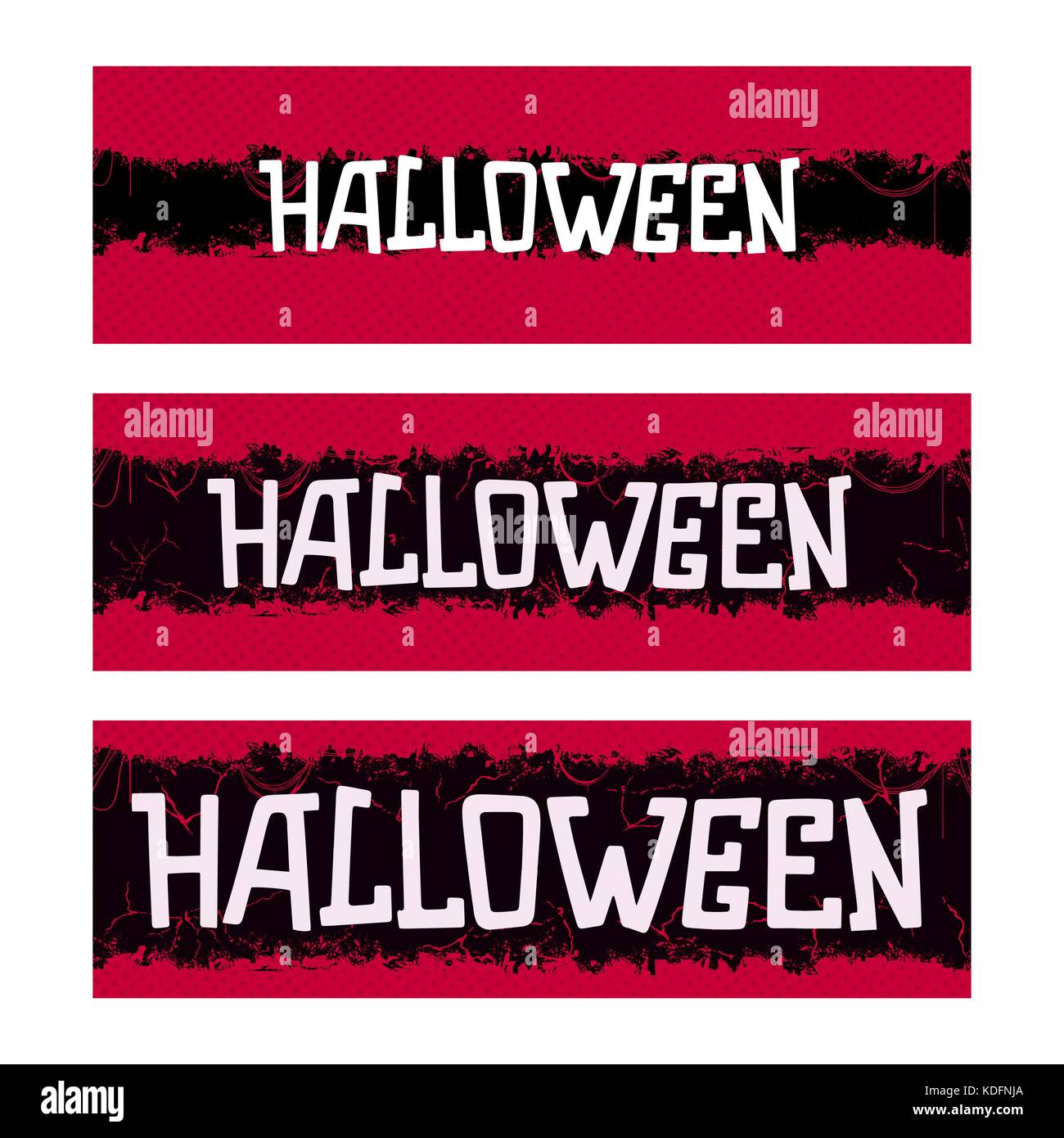 Halloween. Creative thematic horizontal banner. Horror style template. Vector illustration - Stock Image