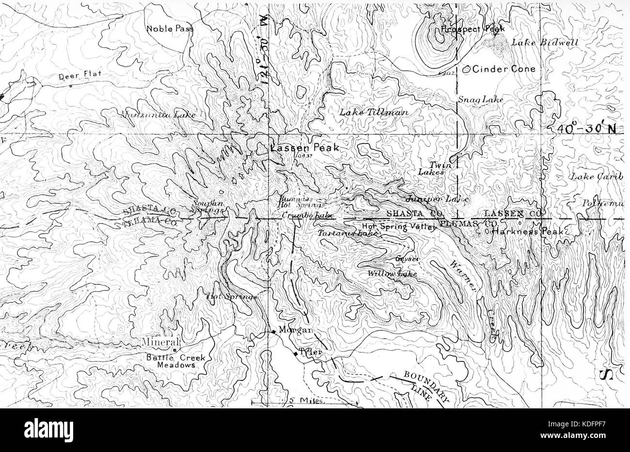 PSM V86 D295 The 1882 usgs survey of lassen peak and vicinity - Stock Image