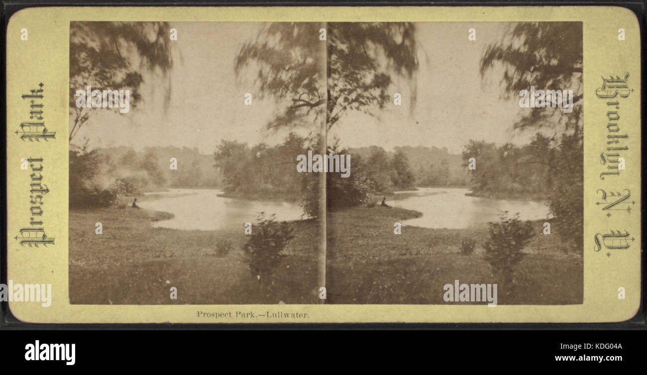 Prospect Park, Lullwater, from Robert N. Dennis collection of stereoscopic views Stock Photo