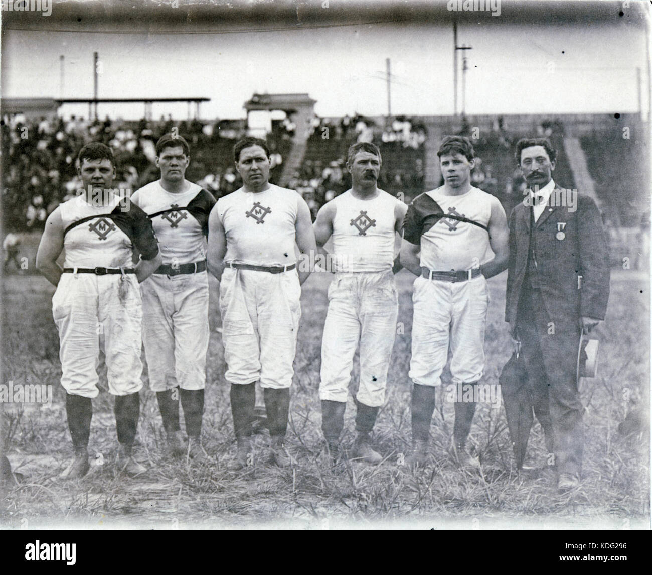 Milwaukee Athletic Club champions of the 1904 Olympic Tug of War competition. Left to right, H. Seiling, C. Magnussen, - Stock Image