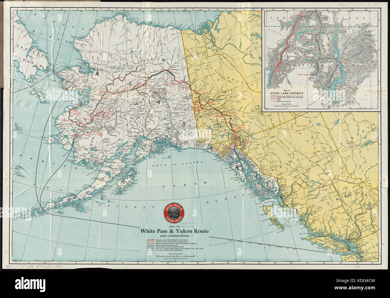 Map yukon stock photos map yukon stock images alamy map of white pass and yukon route and connections 14005737772 stock image gumiabroncs Gallery
