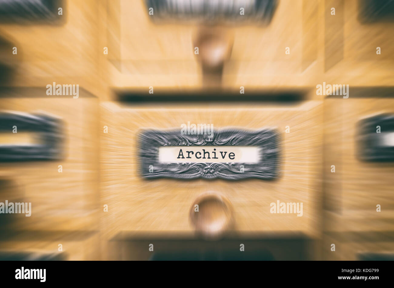 The Archives Card Catalog , old wooden file catalog box, index , database, archive and library concept. - Stock Image