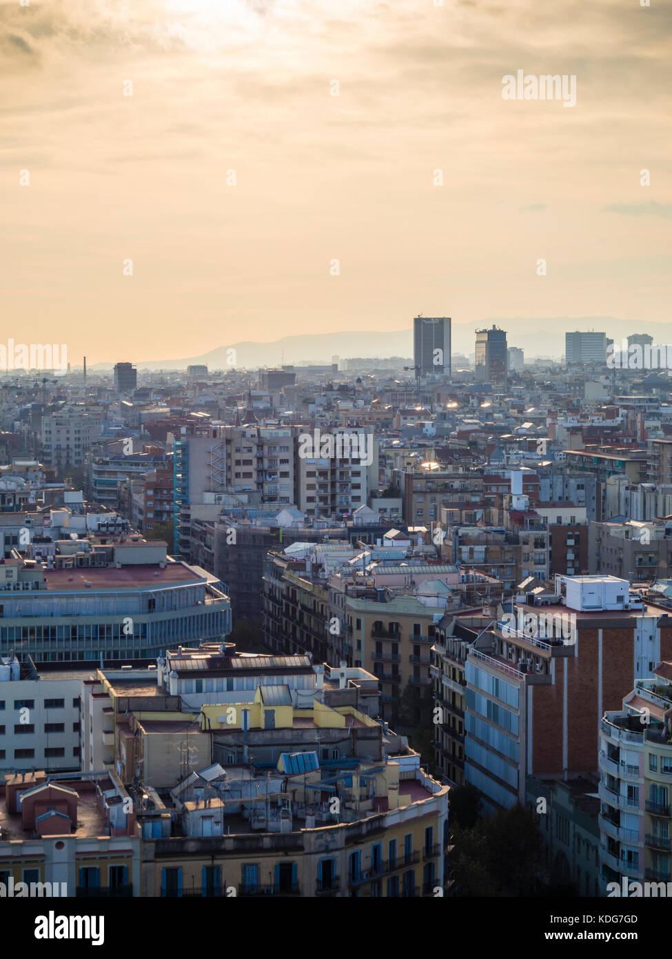 Barcelona, Spain - 11 Nov 2016: City view of Barcelona, Eixample district. - Stock Image