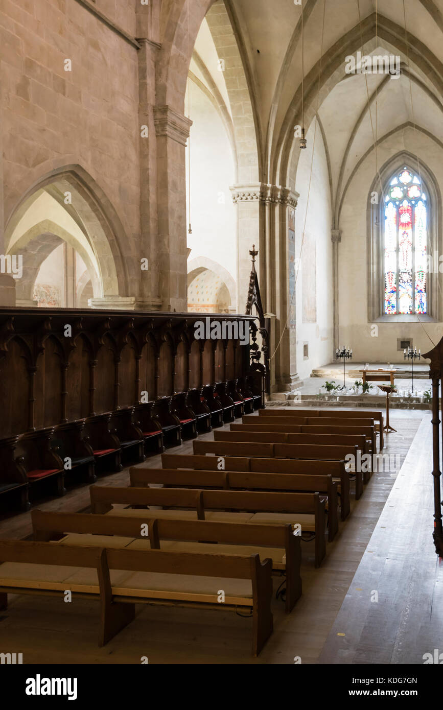 Kappel am Albis, Switzerland - 30 Sept 2017: Gothic style cross vault and sanctuary of Kappel Abbey, a former Cistercian - Stock Image