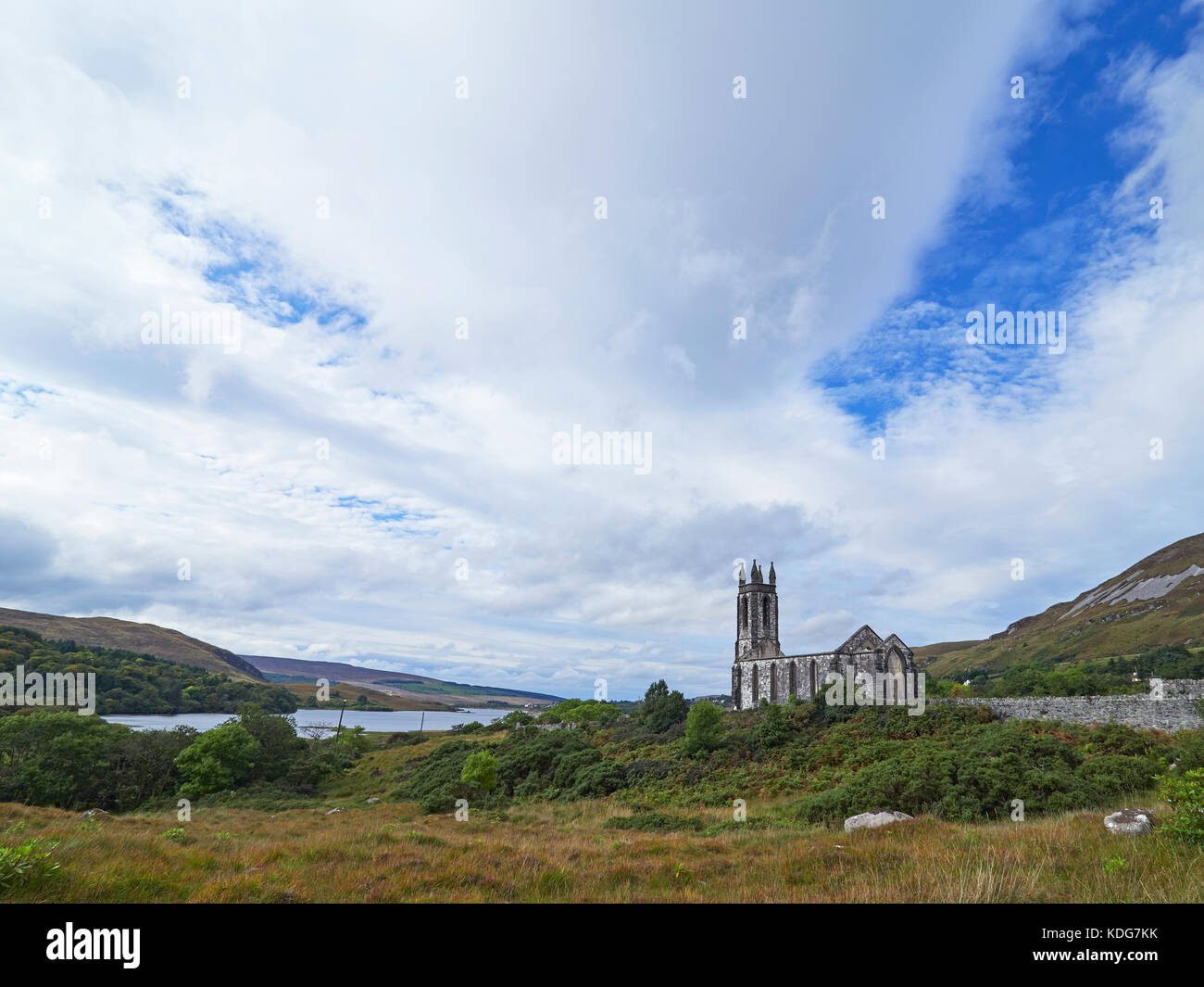 Dunlewey or Dunlewy ruined church at the foot of Mount Errigal and the Poisoned Glen county Donegal Ireland - Stock Image