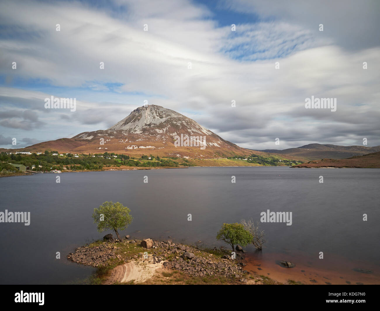 Mount Errigal across Dunlewey Lough Letterkenny County Donegal Ireland - Stock Image