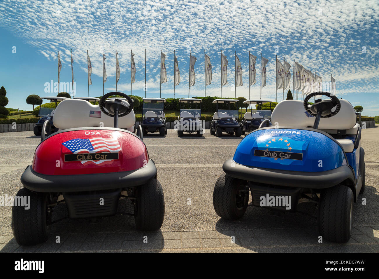 Ryder Cup Flags  & Buggies 2018 - Stock Image