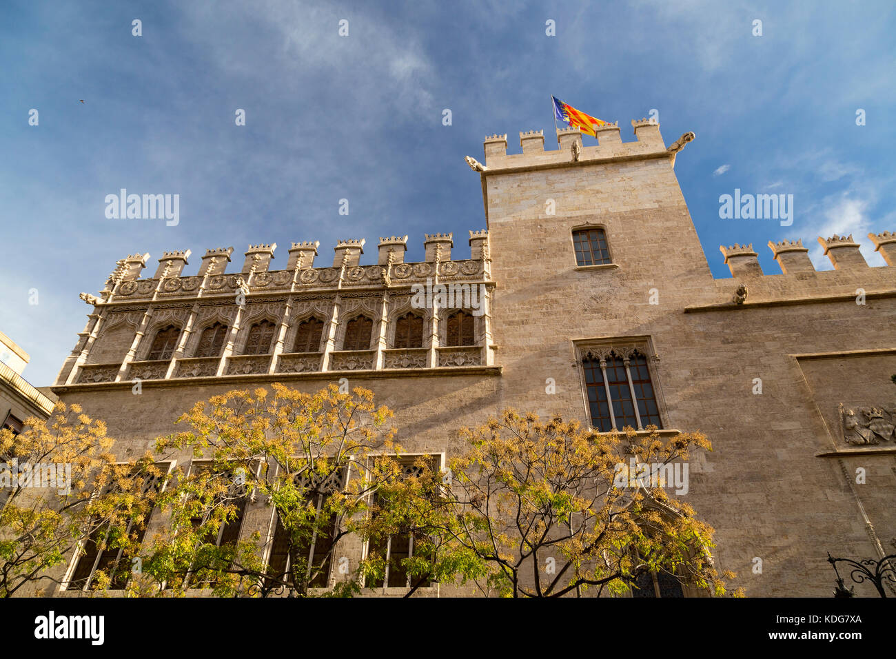 Exterior of Lonja de la Seda a 15th Century cloth market in Valencia, Spain. Stock Photo