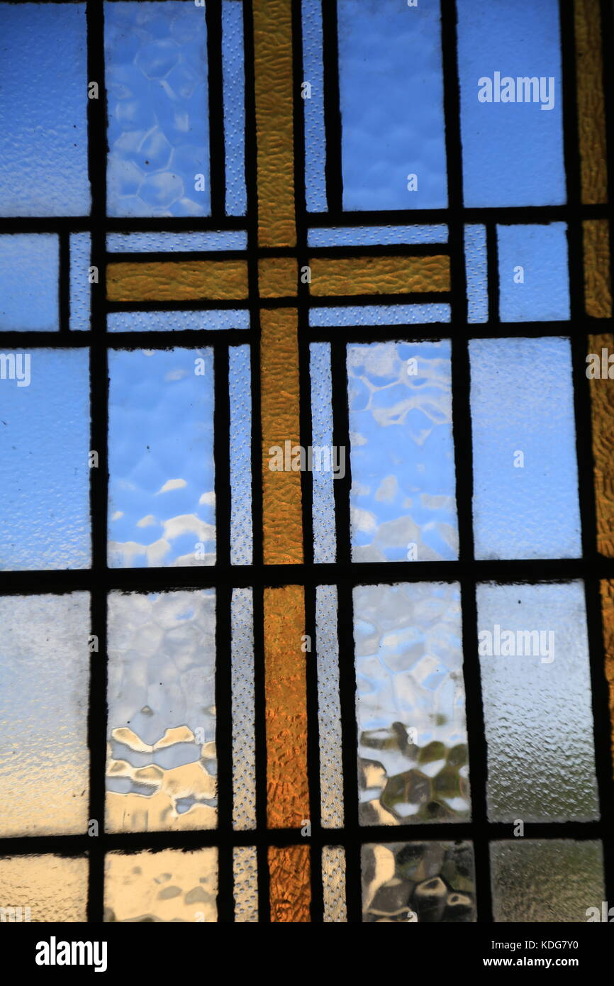 Stained glass windows in various churches in Co. Kerry, Ireland. - Stock Image