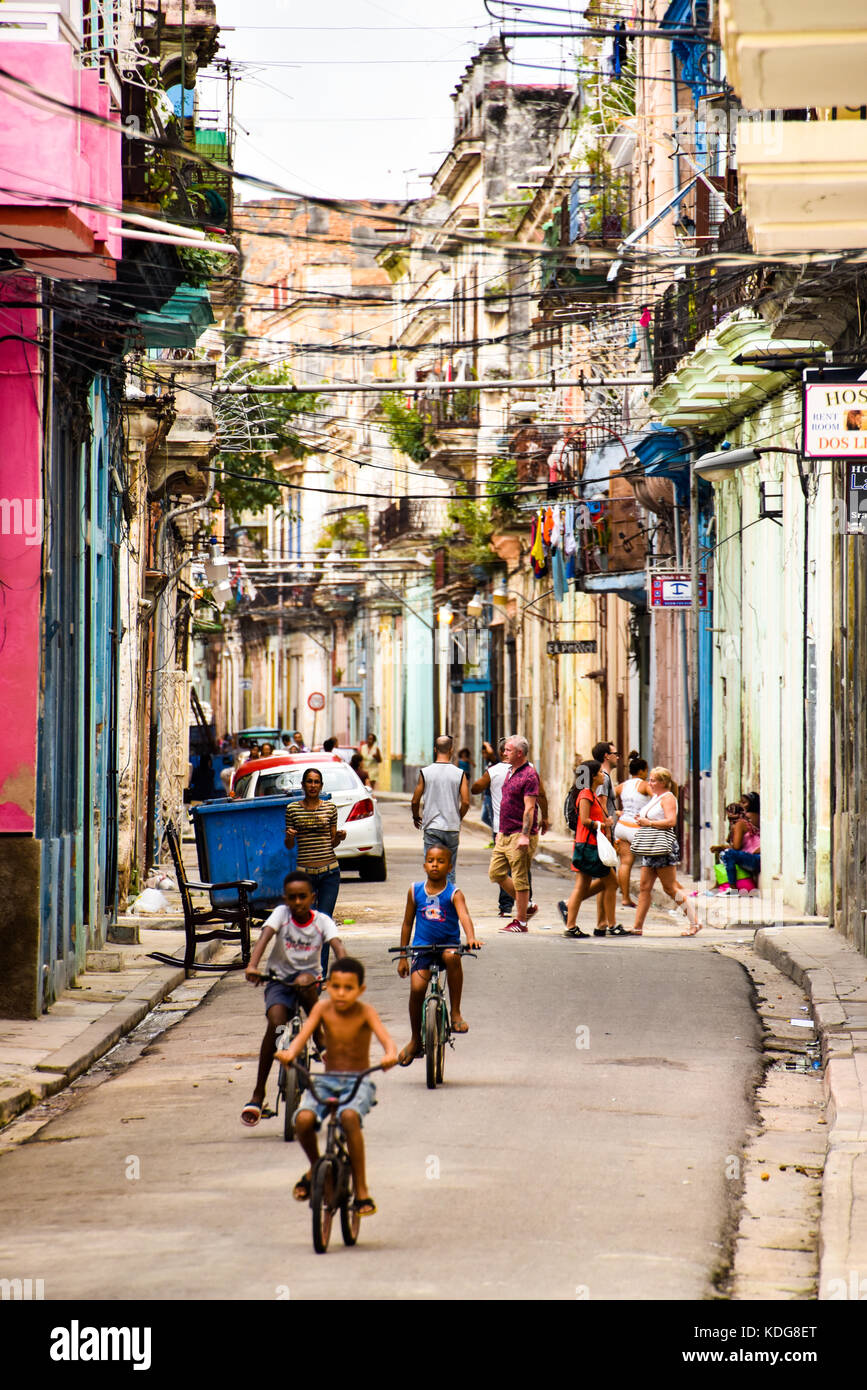 Impoverished neighbourhood  Havana Vieja Cuba - Stock Image
