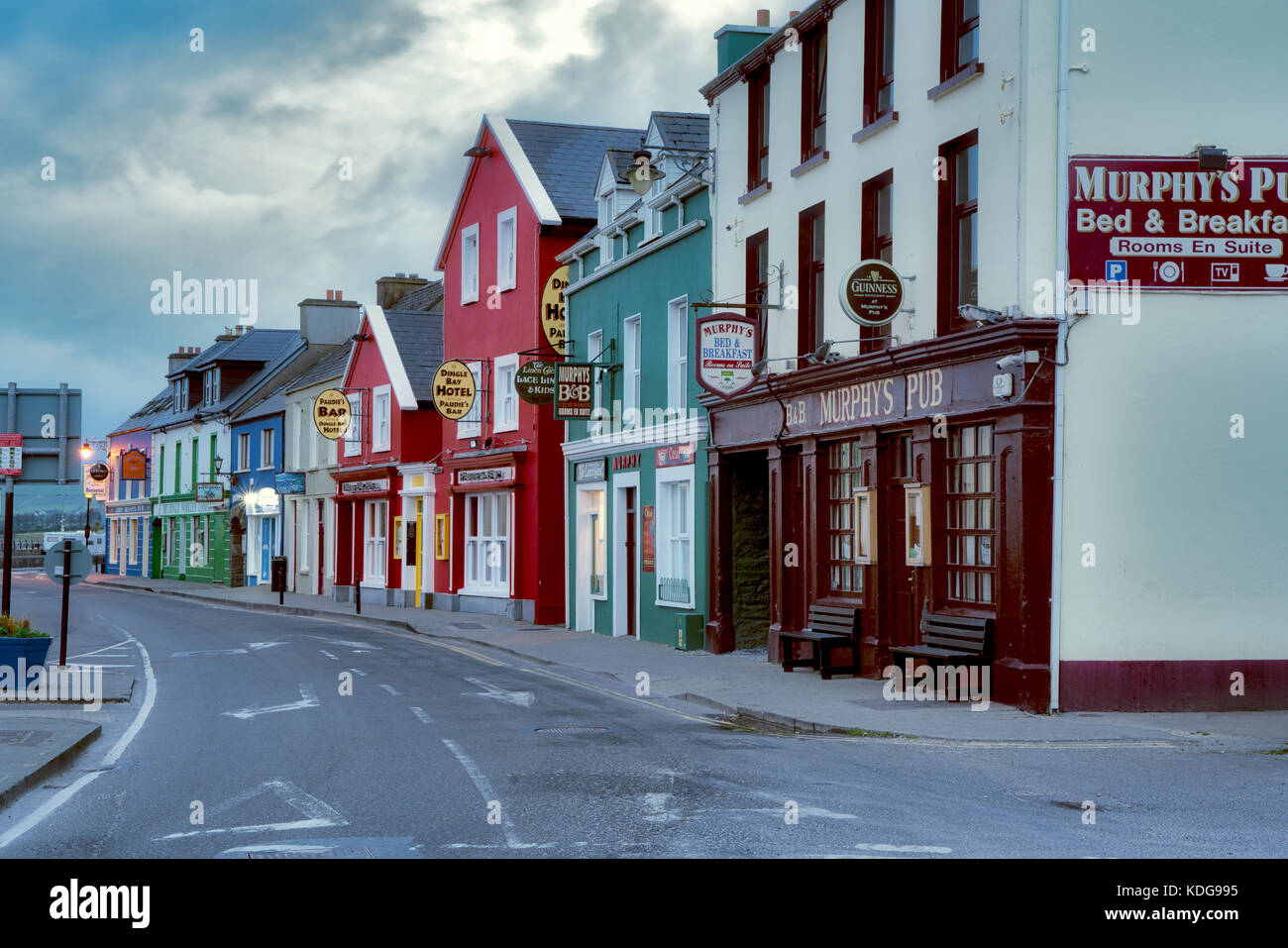 Colorful store fronts in Dingle, County Kerry, Ireland - Stock Image