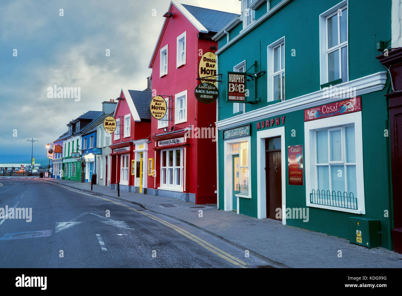 Colorful store fronts in Dingle, County Kerry, Ireland Stock Photo
