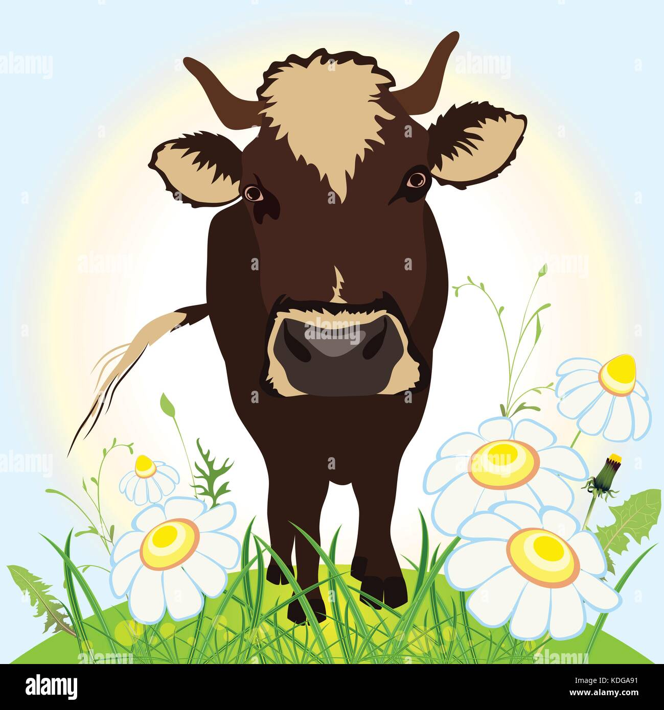 Cow on green field, grass and flowers, vector illustration - Stock Vector