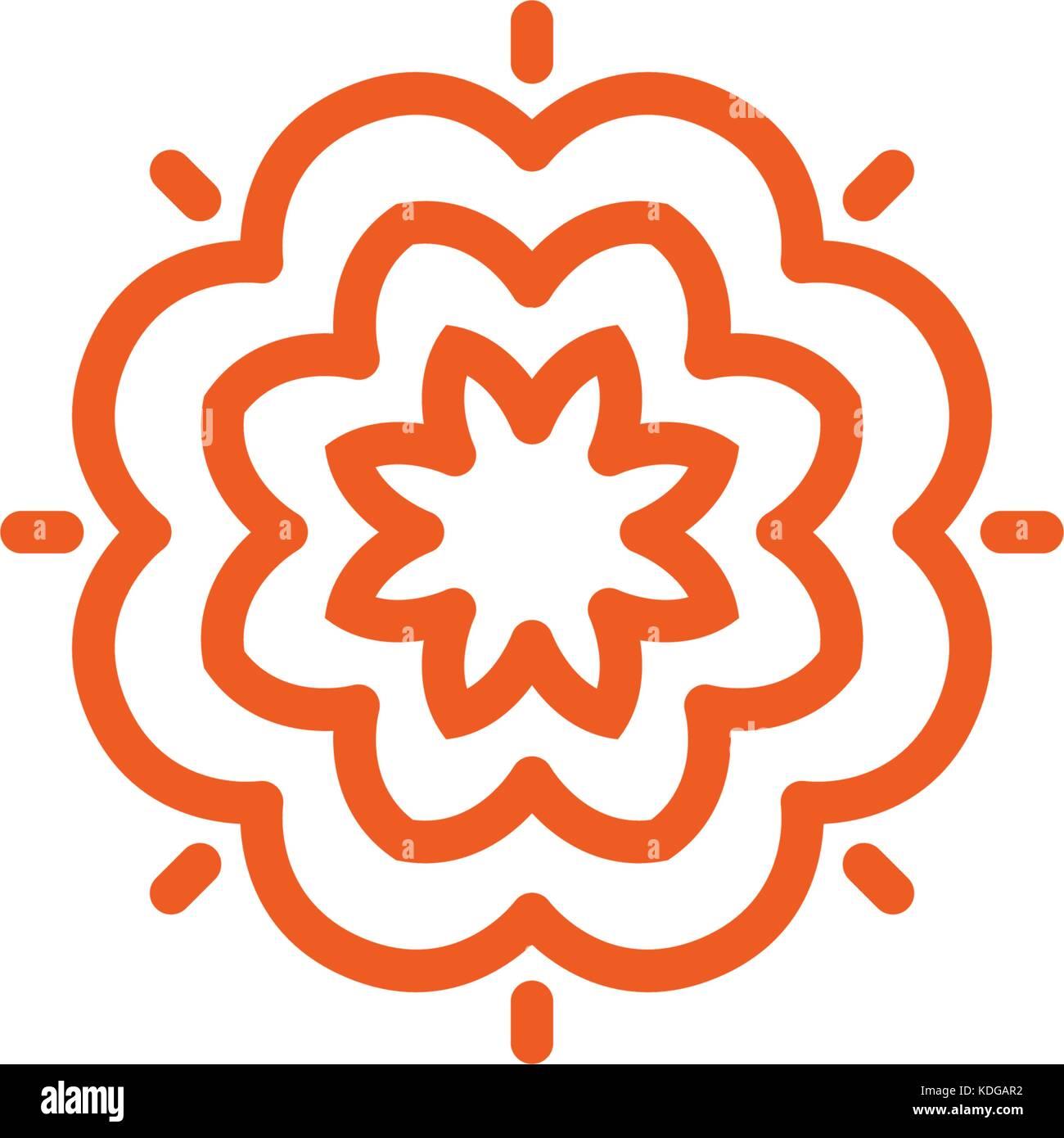 Flower vector linear logo. Orange line art sun icon. Outline garden abstract symbol. Stock Vector
