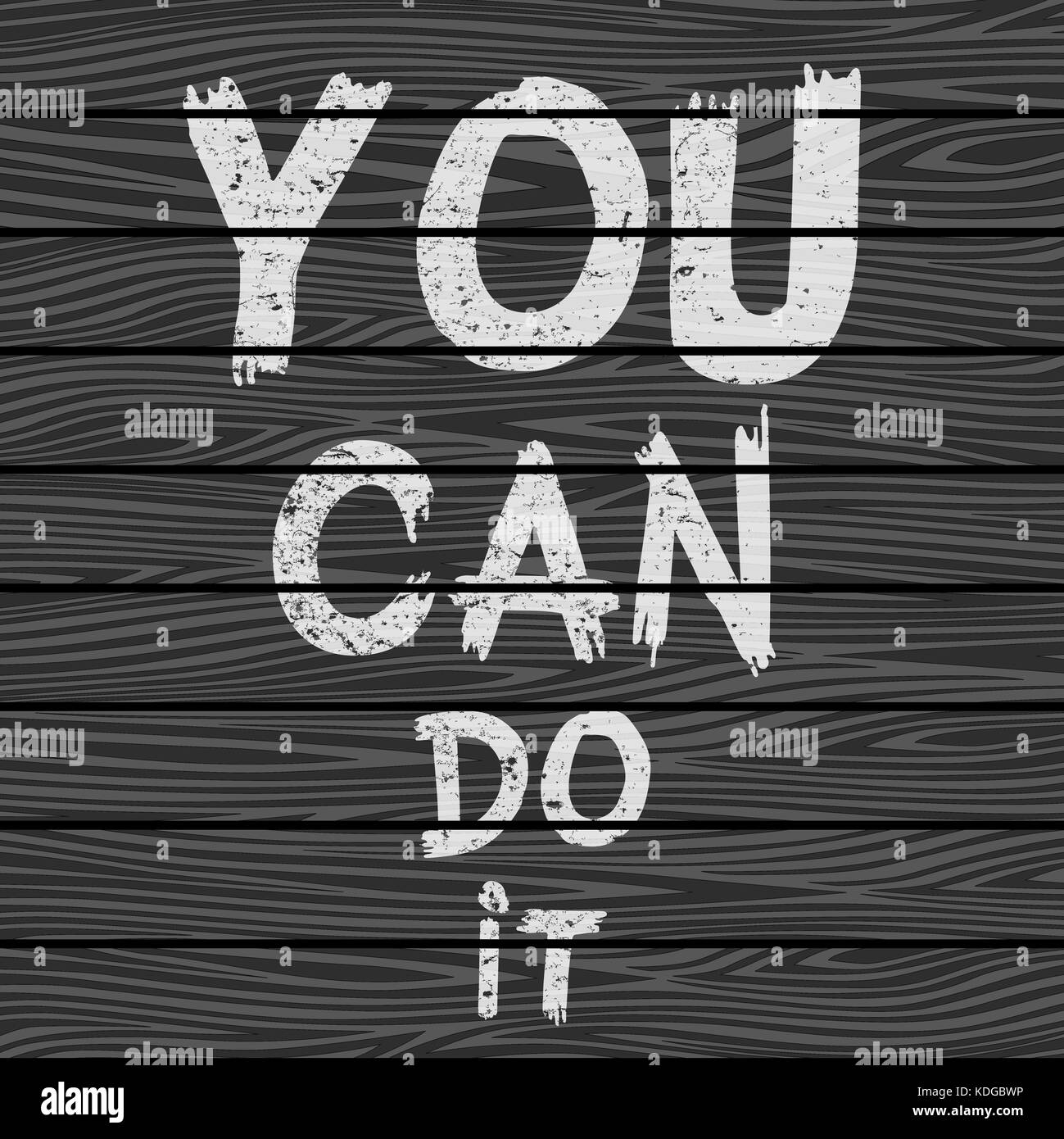 Inspirational quote You Can Do It on black wooden board. Hand written calligraphy, brush painted letters. Vector - Stock Image
