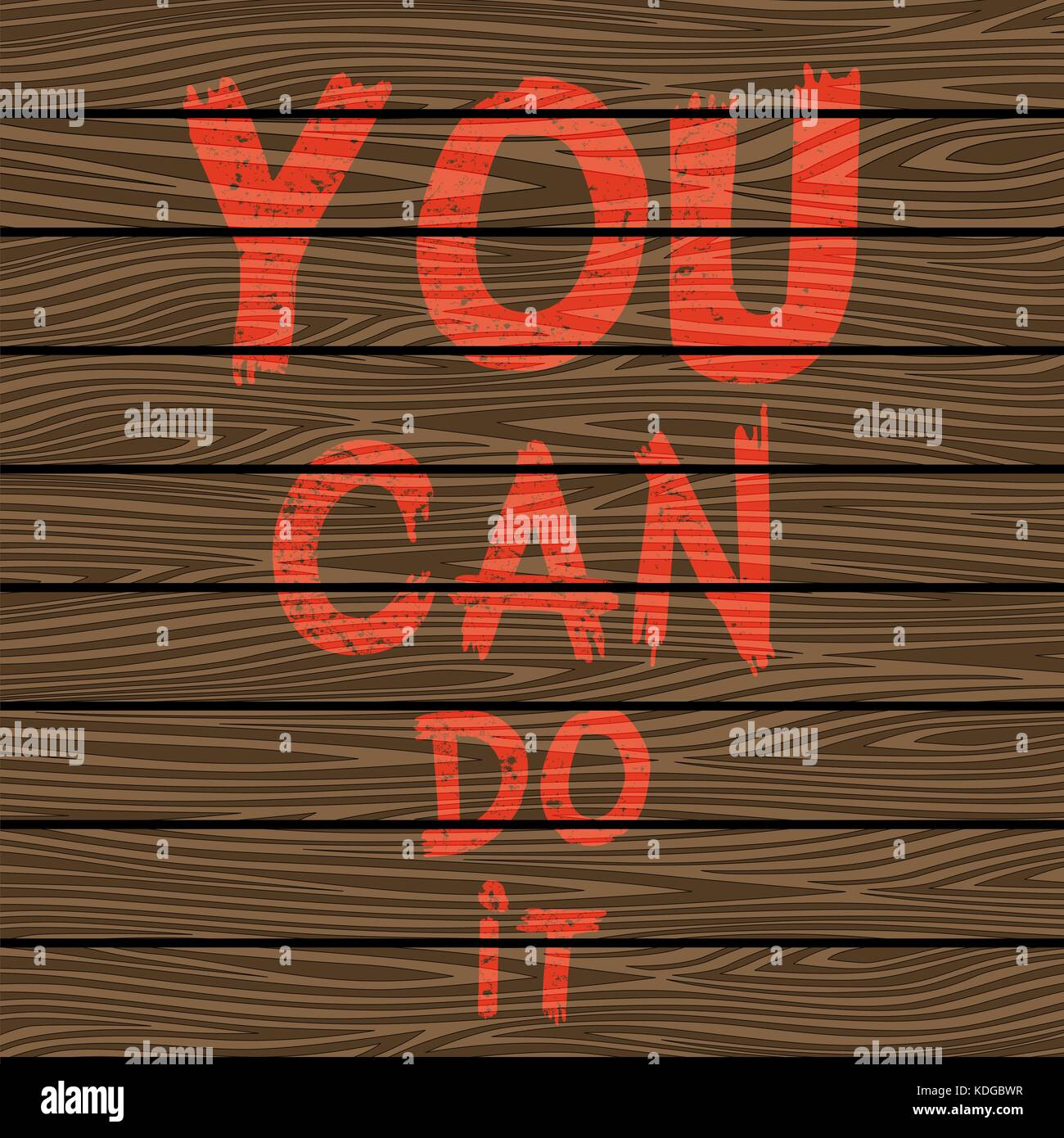 Inspirational quote You Can Do It on brown wooden board. Hand written calligraphy, brush painted letters. Vector - Stock Image