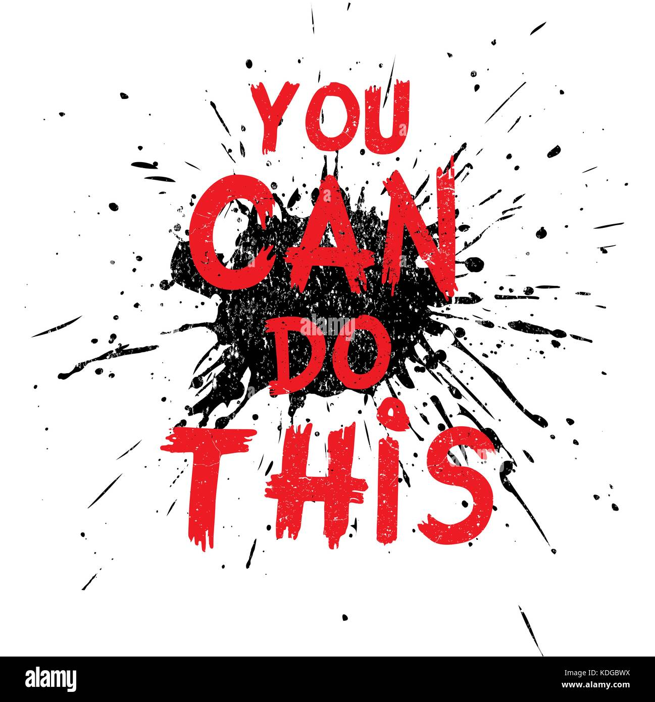 Inspirational quote You Can Do This. Hand written calligraphy, brush painted letters on black Blot and white background. - Stock Image