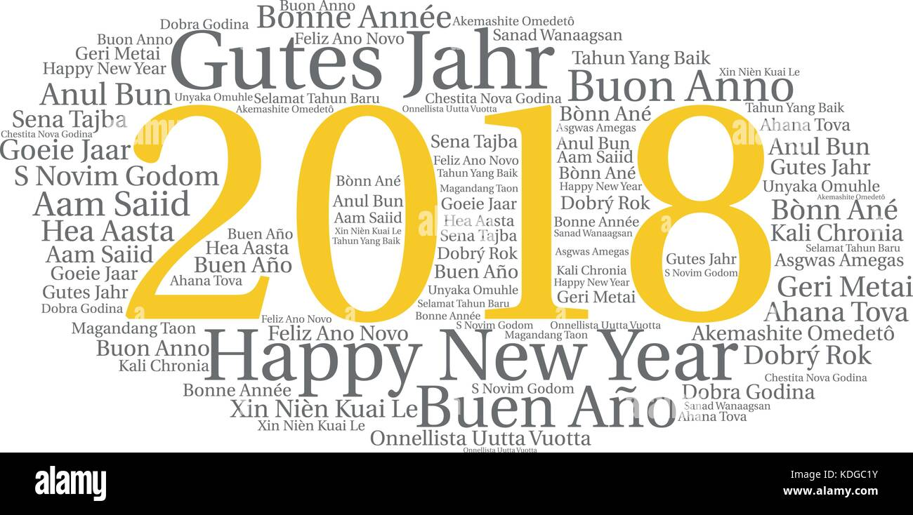 Words cloud, concept of New Year in all languages of the world made ...
