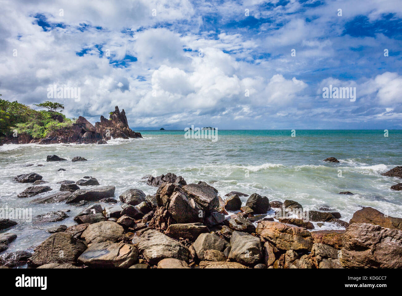 Thailand, Trat Province, tropical island of Koh Chang in the Gulf of Thailand, rocky coast at Cape Chai Chet - Stock Image
