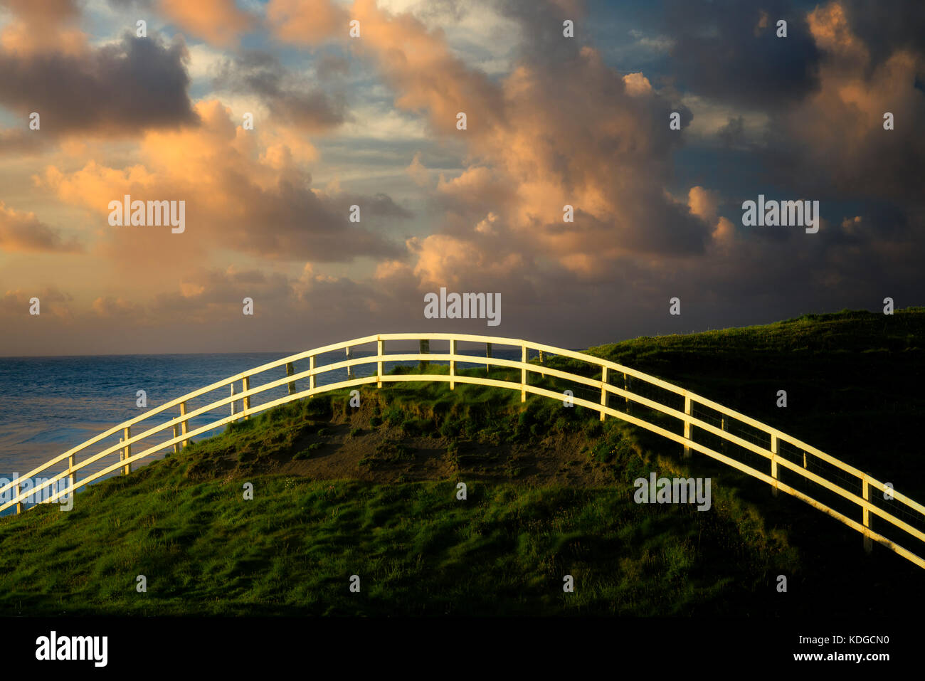 Fence at Cliffs of Moher, County Claire Ireland - Stock Image