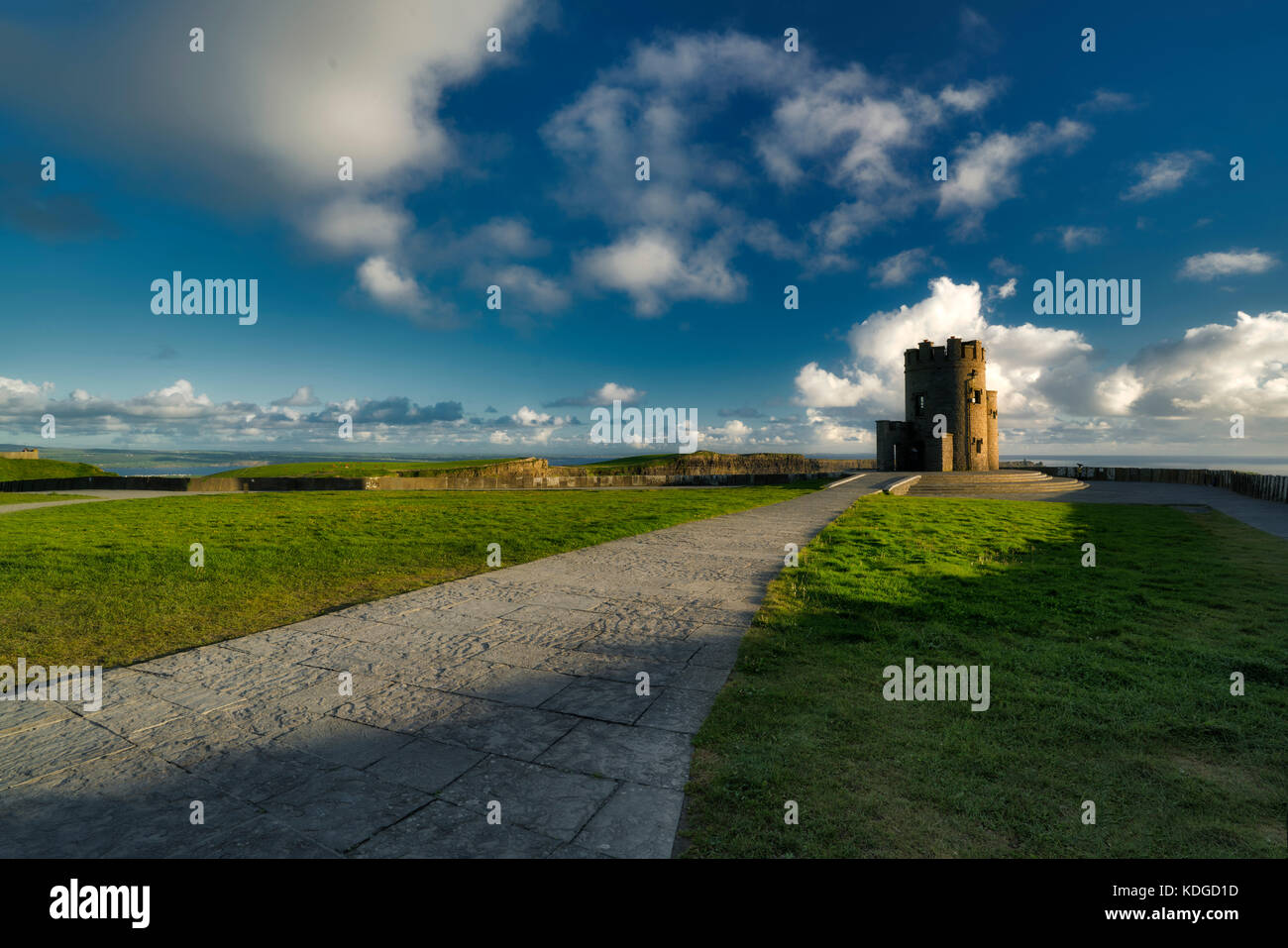Path to O'briens Tower, Cliffs of Moher, County Clare, Ireland - Stock Image