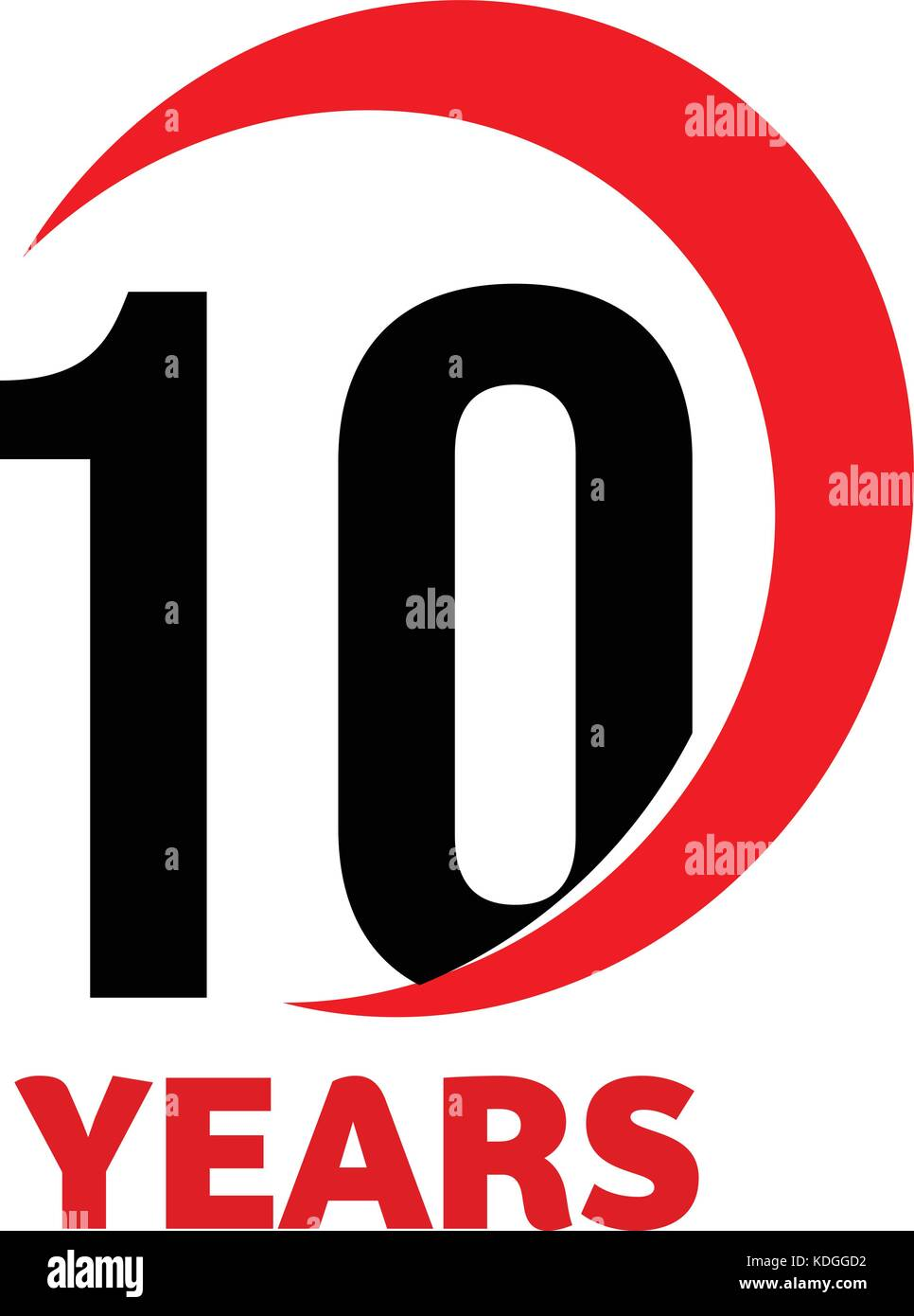10th Anniversary abstract vector logo. Ten Happy birthday day icon. Black numbers in red arc with text 10 years. - Stock Vector