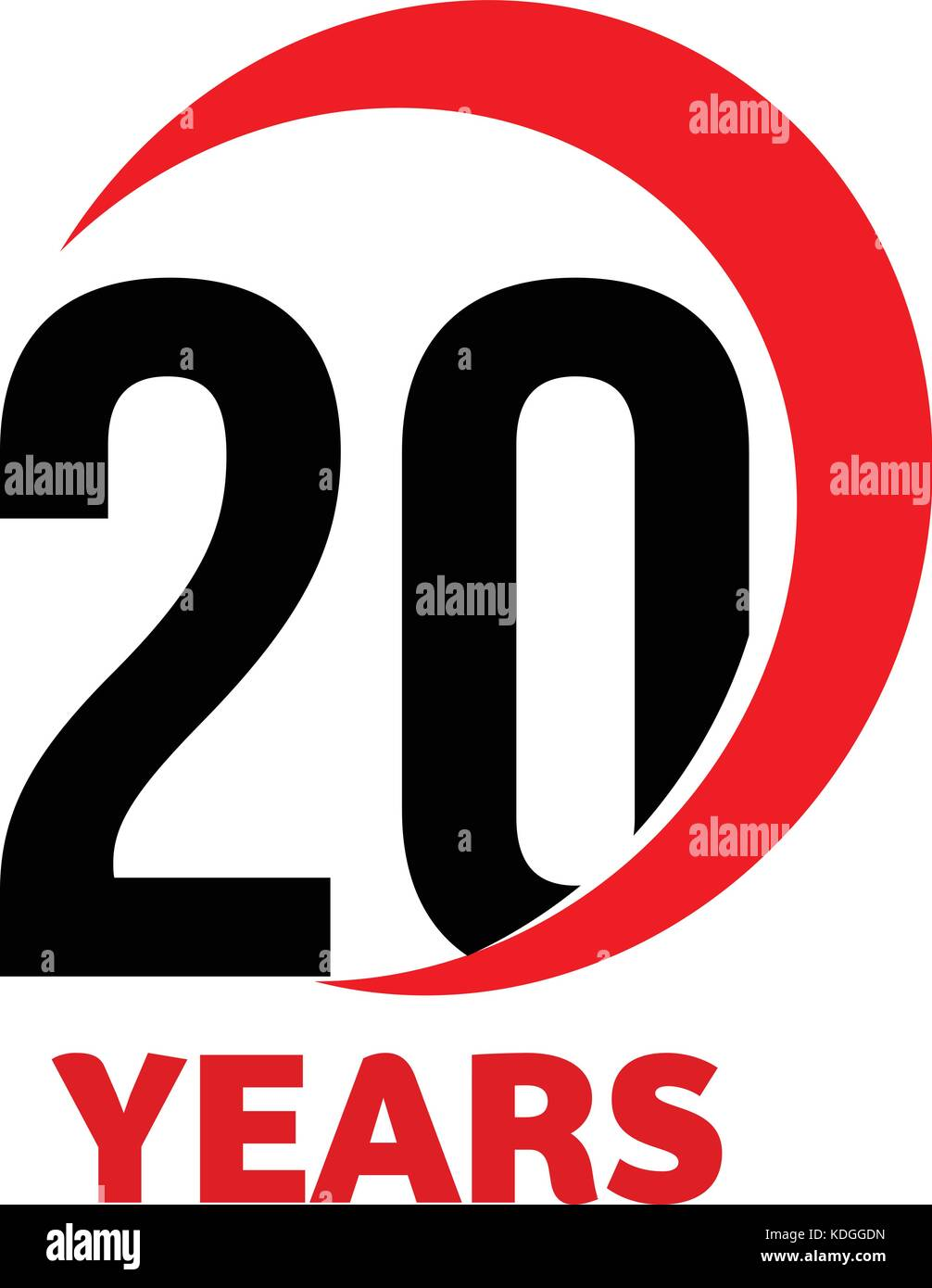 20th Anniversary abstract vector logo. Twenty Happy birthday day icon. Black numbers in red arc with text 20 years. - Stock Vector