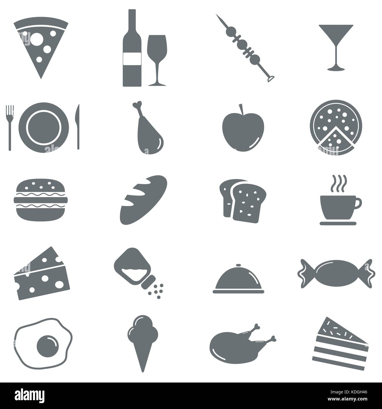 Set of 16 food icons. Vector illustration Stock Vector