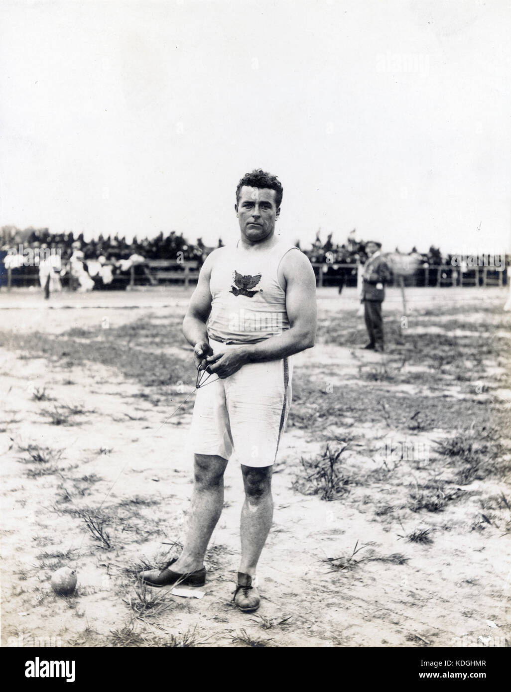John Jesus Flannigan of the Greater New York Irish Athletic Association, winner of the 16 pound hammer throw at - Stock Image