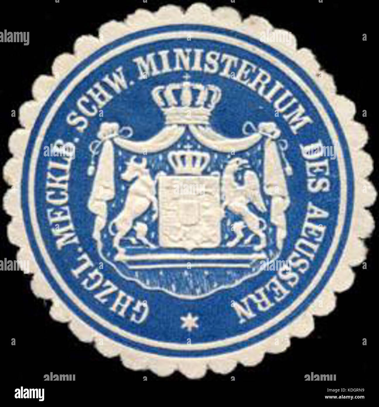 Siegelmarke Grossherzoglich Mecklenburgisch Schw. Ministerium des Aeussern W0211771 - Stock Image