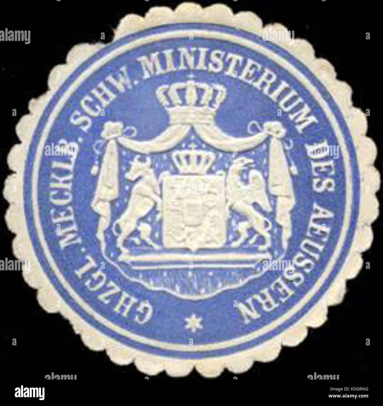 Siegelmarke Grosherzoglich Mecklenburgisch Schw. Ministerium des Aeussern W0211816 - Stock Image