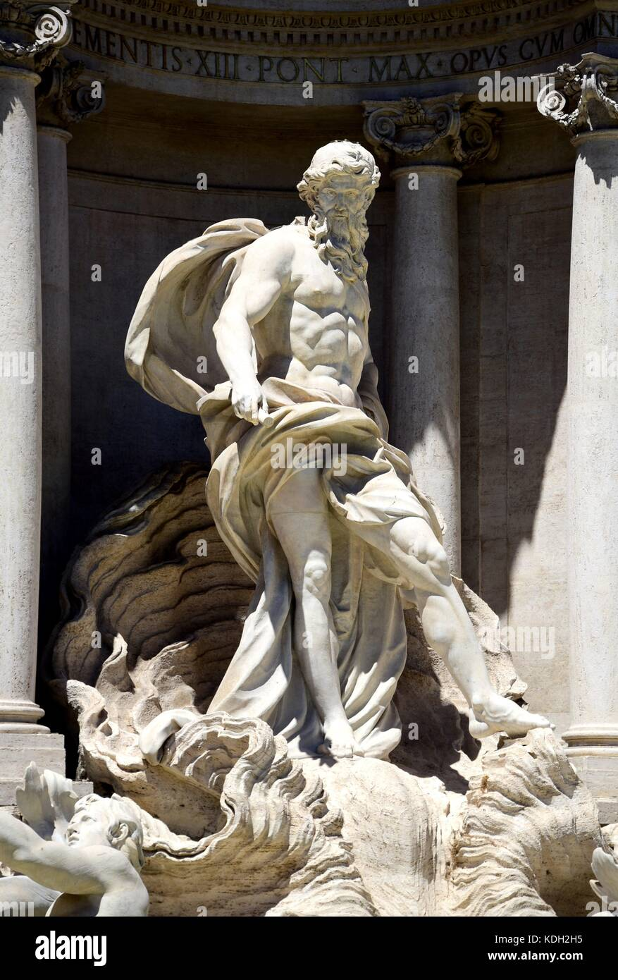 Artistical facade with a sculpture of Oceanus at the Fontana di Trevi at the Piazza Trevi in Rome (Italy), 18 July - Stock Image