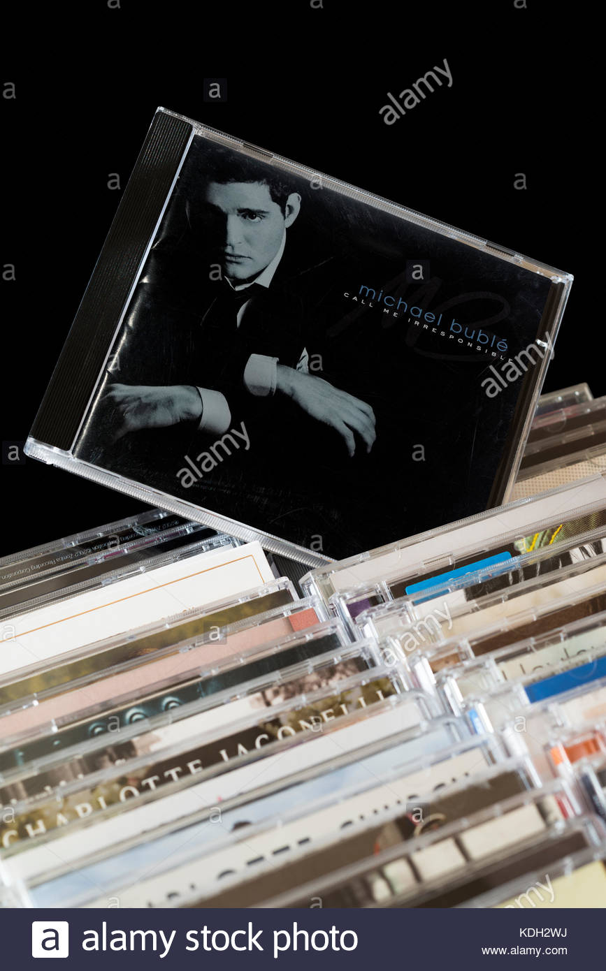 Call Me Irresponsible, Michael Bublé CD pulled out from among rows of other CD's, Dorset, England - Stock Image