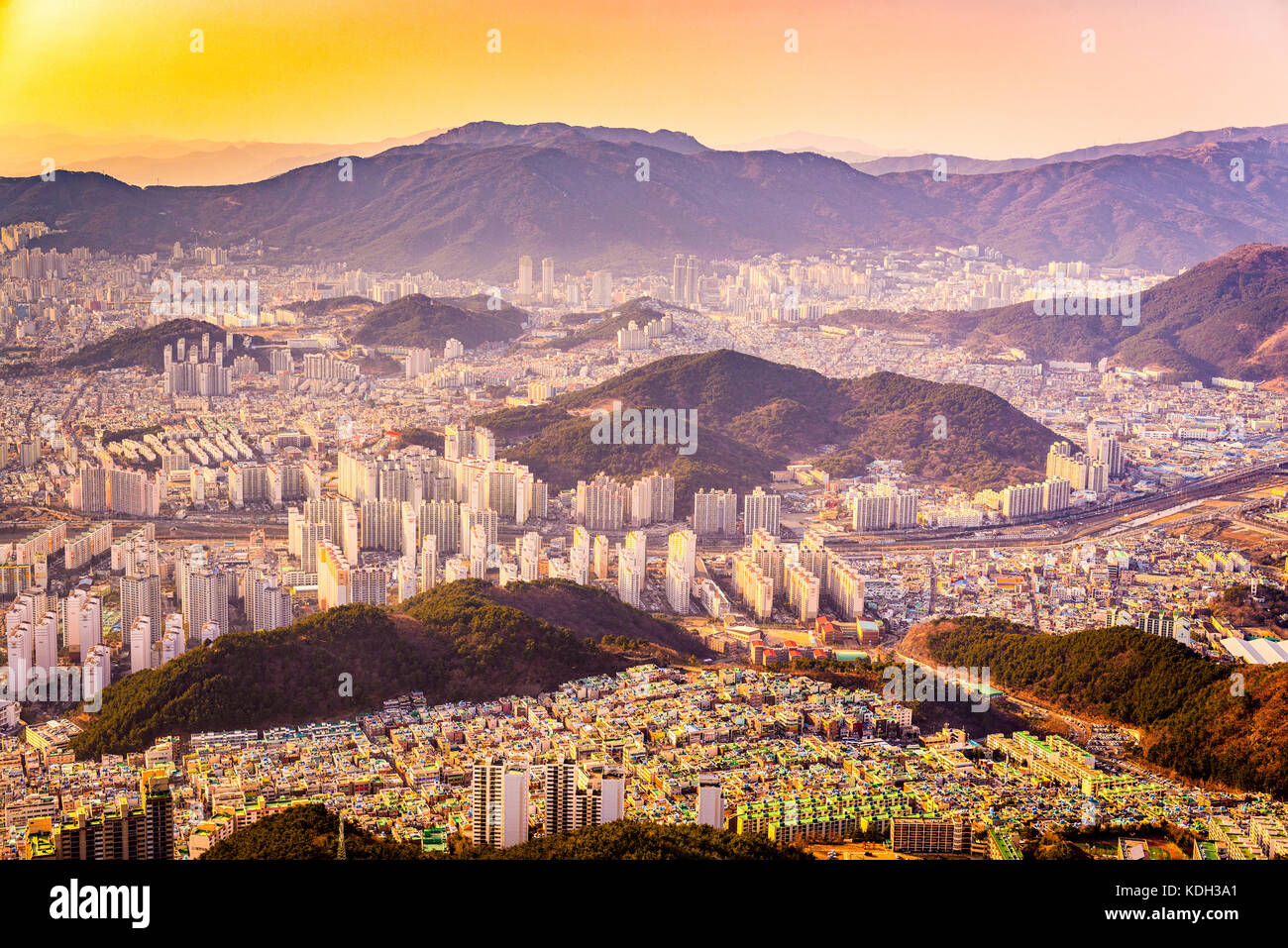 Busan, South Korea cityscape at dusk. - Stock Image