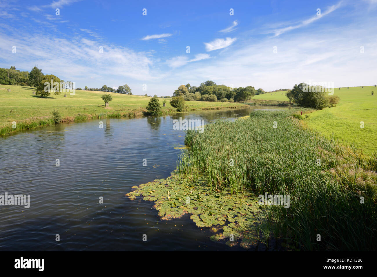 Quintessential English Landscape or Capability Brown Landscape and Lake at Compton Verney House, Warwickshire, England - Stock Image