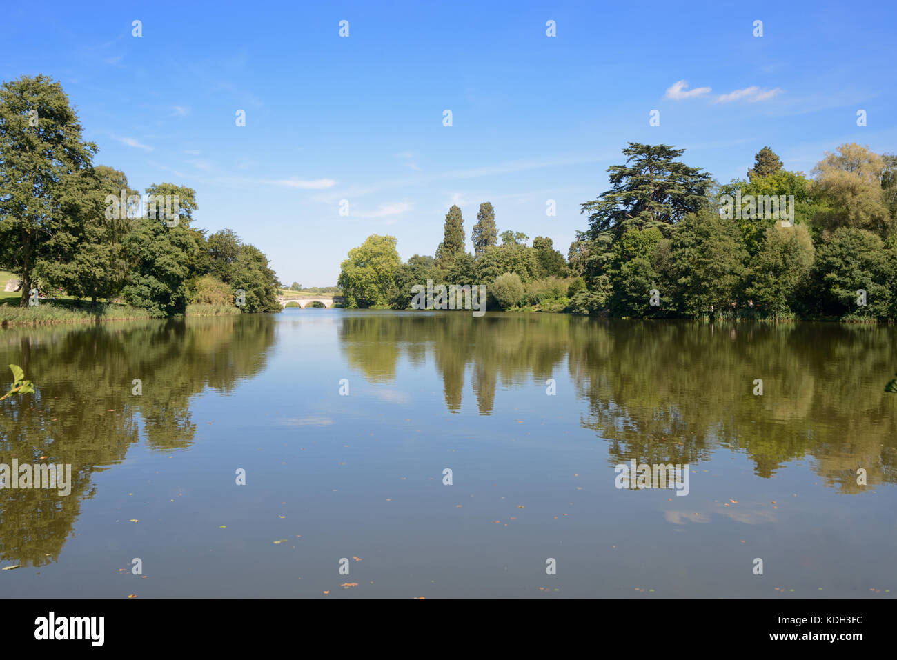 Lake & Parkland designed by Capability Brown at Compton Verney House (1714) or Country Estate, Warwickshire, - Stock Image