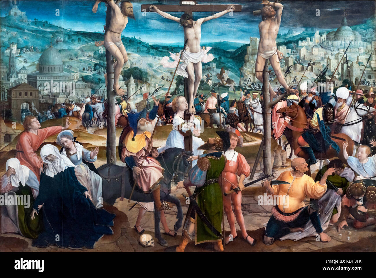 Crucifixion by Jan Provoost (1462-1529), oil on panel, c.1501-1505 - Stock Image
