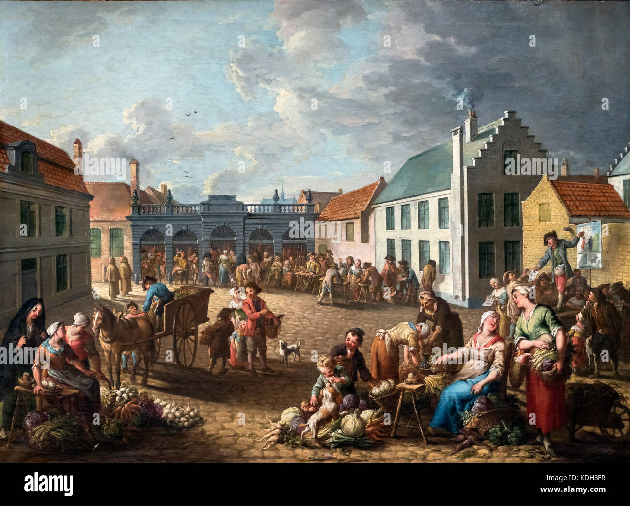 The Pandreitje in Bruges by Jan Anton Garemyn (Jan Anton Garemijn: 1712-1799), oil on canvas, 1778 - Stock Image