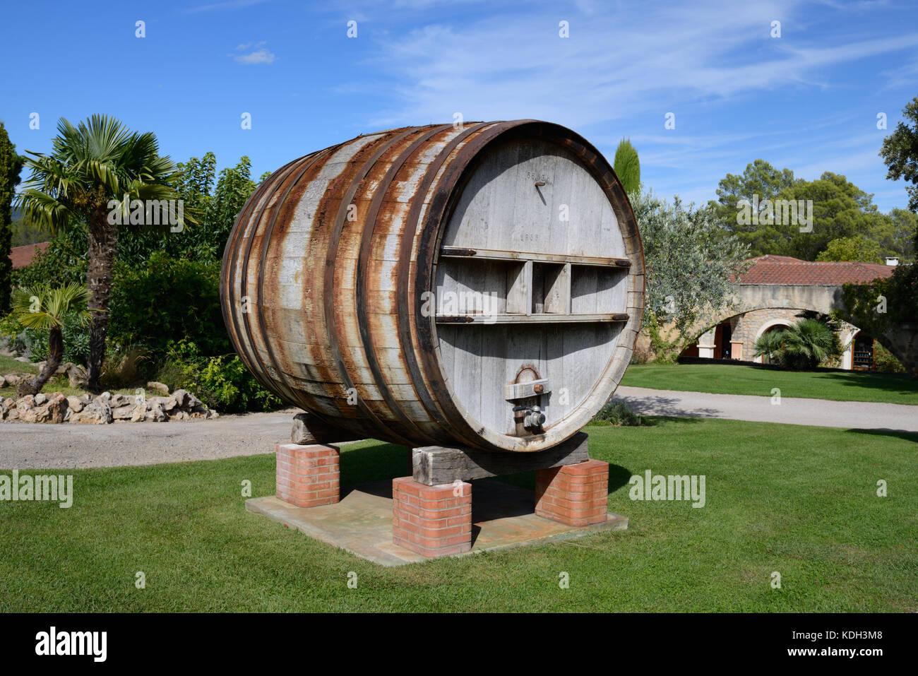 Giant Historical Wine Vat or Barrel (1856) Domaine de Berne Wine Estate, Lorgues, Var, Provence - Stock Image