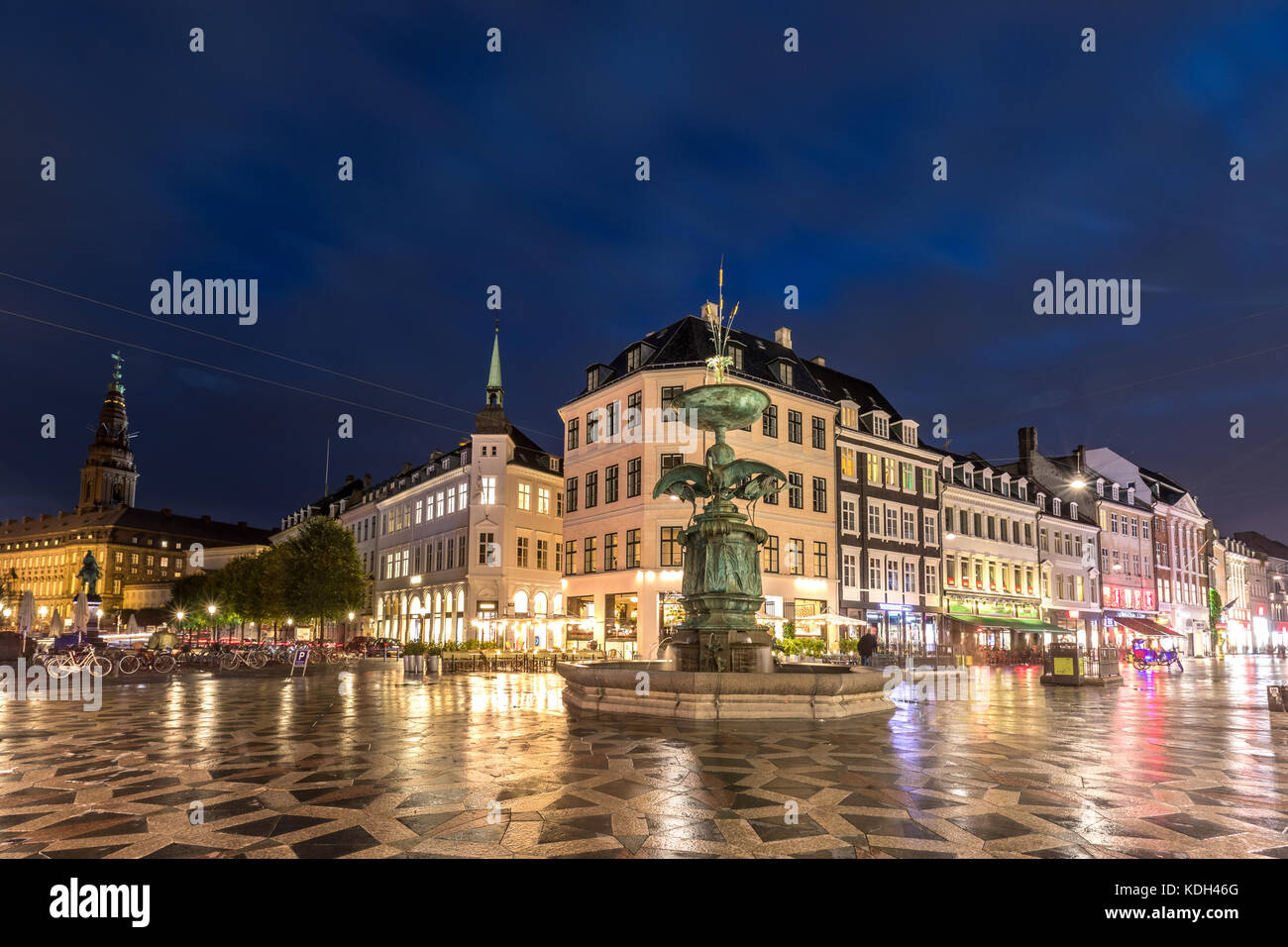 Scenic summer view of  the Old Town of Copenhagen, Denmark Stock Photo