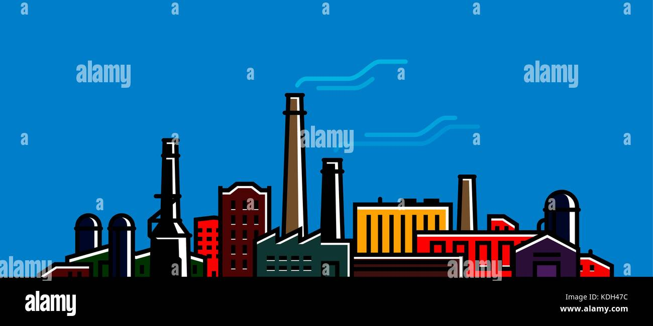 Factory, manufacturer banner. Industry, industrial technology concept. Vector illustration - Stock Vector