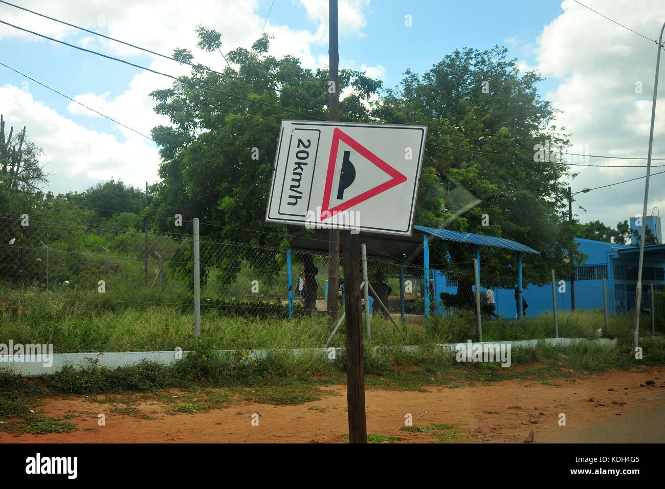 A speed limit sign turned sideways in South Africa. Stock Photo