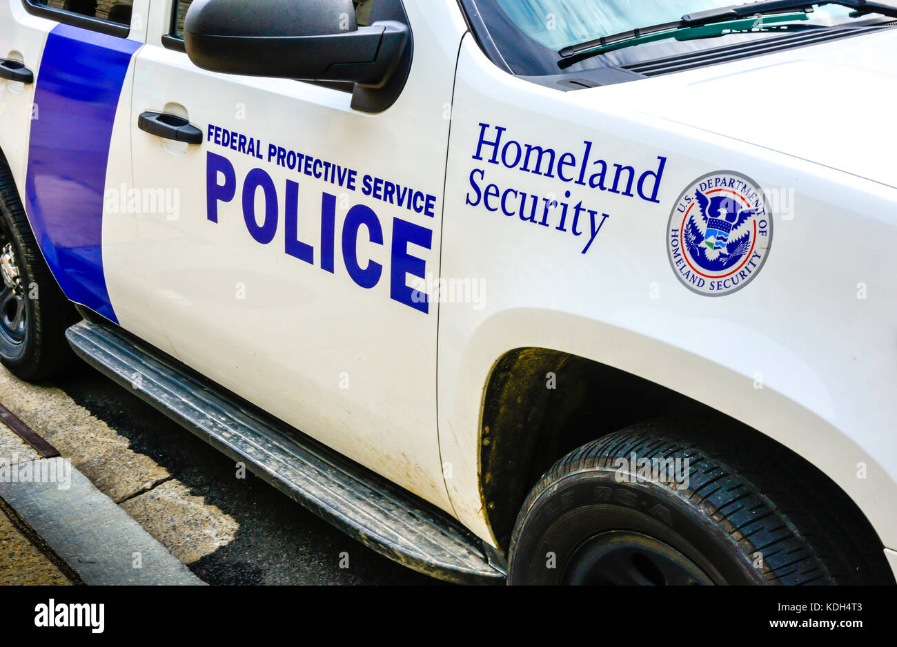 Detail of a Homeland Security Federal Protective Service Police car in Washington, DC, USA - Stock Image