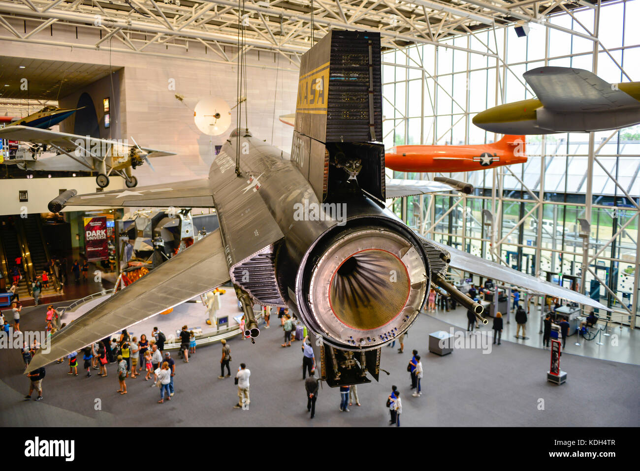 View of the propulsion end of an experimental aircraft, an X-Craft, along with a Bell XI at the National Air & - Stock Image